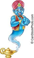 Friendly Cartoon Pointing Genie