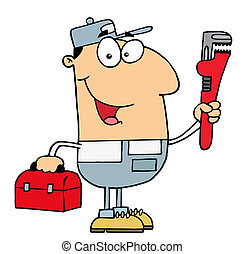 Friendly Caucasian Plumber Man Carrying A Wrench And Tool ...