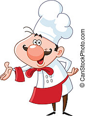 Friendly chef presenting with his hand