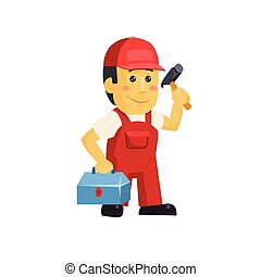 Friendly construction worker man with tools, vector