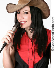 Friendly country girl with a microphone - A friendly woman...
