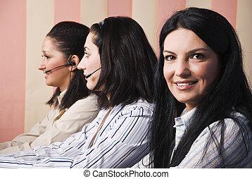 Friendly customer service teamwork women