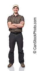 friendly delivery man - smiling worker isolated on white ...