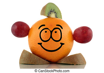Friendly diet. Funny fruit character on white background