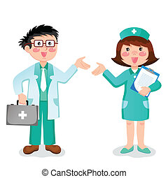 doctor and nurse - friendly doctor and nurse gesturing with...