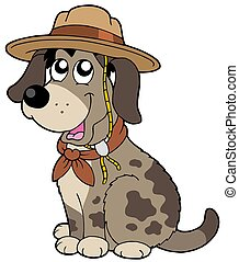 Friendly dog in scout hat - isolated illustration.