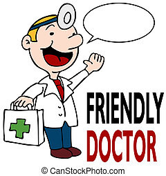 friendly doktor, holde, medicinsk kit