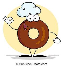 Friendly Donut Cartoon Character
