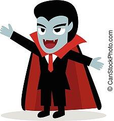 Friendly Dracula in vector cartoon