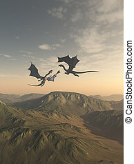Friendly Dragon Companions Flying over a Mountain Landscape