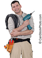Friendly electrician with a drill