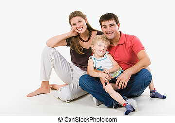 Friendly family - Portrait of handsome man holding boy on...