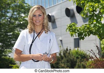friendly female doctor smiling