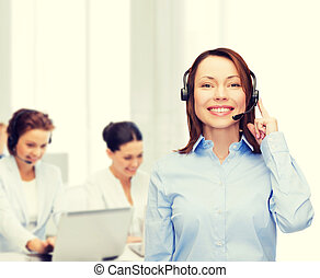 friendly female helpline operator at office