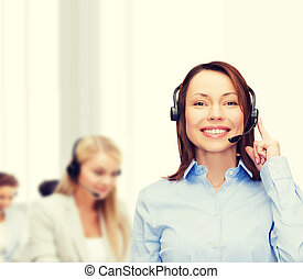 friendly female helpline operator at office