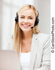 friendly female helpline operator - business, call centre ...