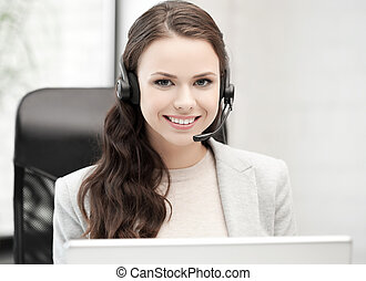 friendly female helpline operator - picture of smiling...