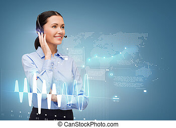 friendly female helpline operator - business and office...