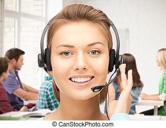 helpline operator with headphones - friendly female helpline...