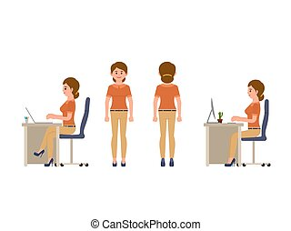 Friendly female office worker sitting at the desk, standing