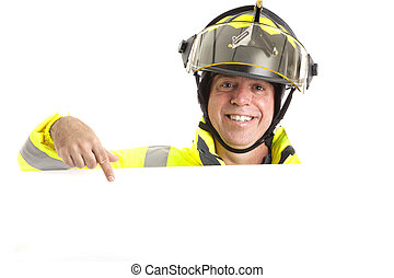 Friendly Fireman with Message - Friendly fireman in uniform,...
