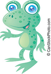 Friendly Frog - Cute little happy frog smiling and waving. ...