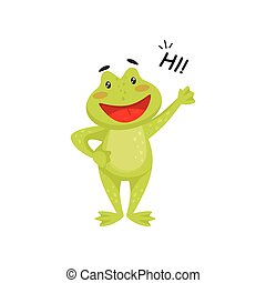Friendly frog waving paw and saying Hi . Cheerful green toad. Flat vector element for children book