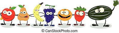 Friendly Fruit - A group of funny friendly fruit