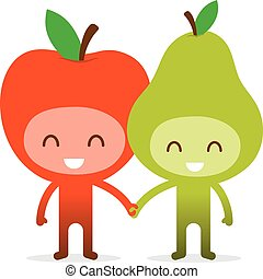 Friendly Fruit Couple Apple and Pea