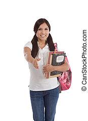 friendly greeting Hispanic College student