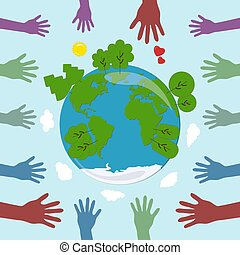 Friendly hands huging the world. Earth Day
