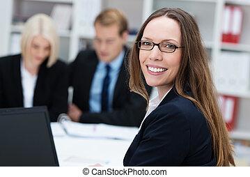 Friendly happy businesswoman