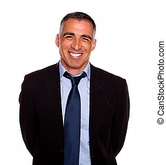 Friendly hispanic businessman smiling