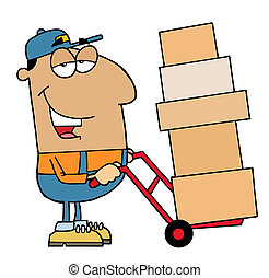 Friendly Hispanic Delivery Man Using A Dolly To Move Boxes