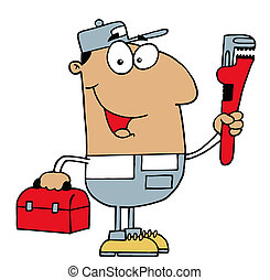 Friendly Hispanic Plumber Man Carrying A Wrench And Tool Box