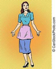 Friendly housewife beautiful woman retro style pop art