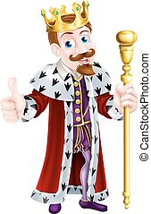 Friendly King Cartoon - Cartoon king mascot wearing a crown,...