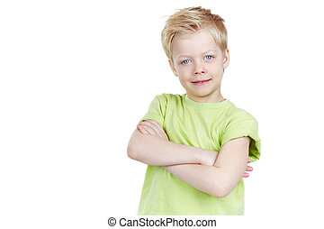 Portrait of a cute little boy posing for camera isolated on white background, copyspace provided