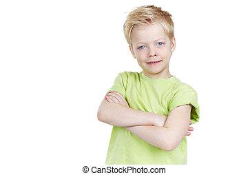 Friendly lad - Portrait of a cute little boy posing for...