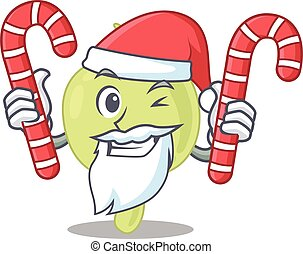 Friendly lymph node dressed in Santa Cartoon character with ...