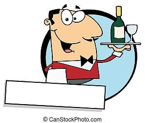 Friendly Male Butler Serving Wine