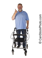 Friendly Male Senior with  Rollator