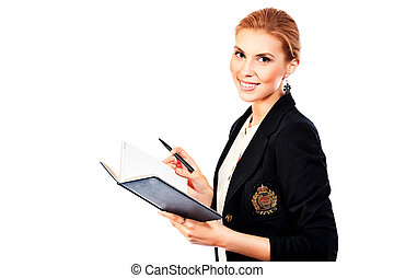 friendly manager - Beautiful young woman posing in business...