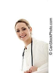 Friendly medical practitioner or nurse