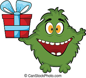 Friendly monster holding a gift box.