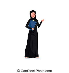 Friendly Muslim business woman with folder in hand. Young girl wearing long black dress and hijab. Flat vector design
