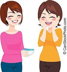 Friendly Neighbor Sharing Food - Happy friendly neighbor...