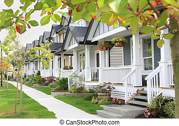 Friendly neighborhood with porches and sidewalk.