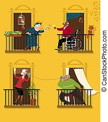 Senior citizens practicing social distancing keep connected with their neighbors, EPS 8 vector illustration