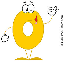 Cartoon Character Happy Numbers 0